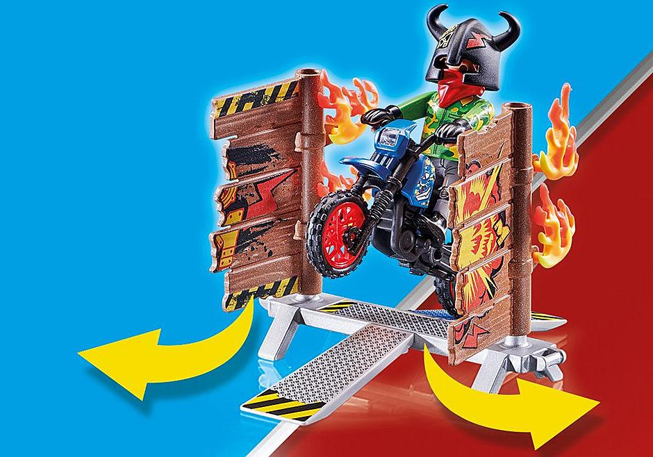 70553 Stuntshow Pilote de moto et mur de feu detail image 5