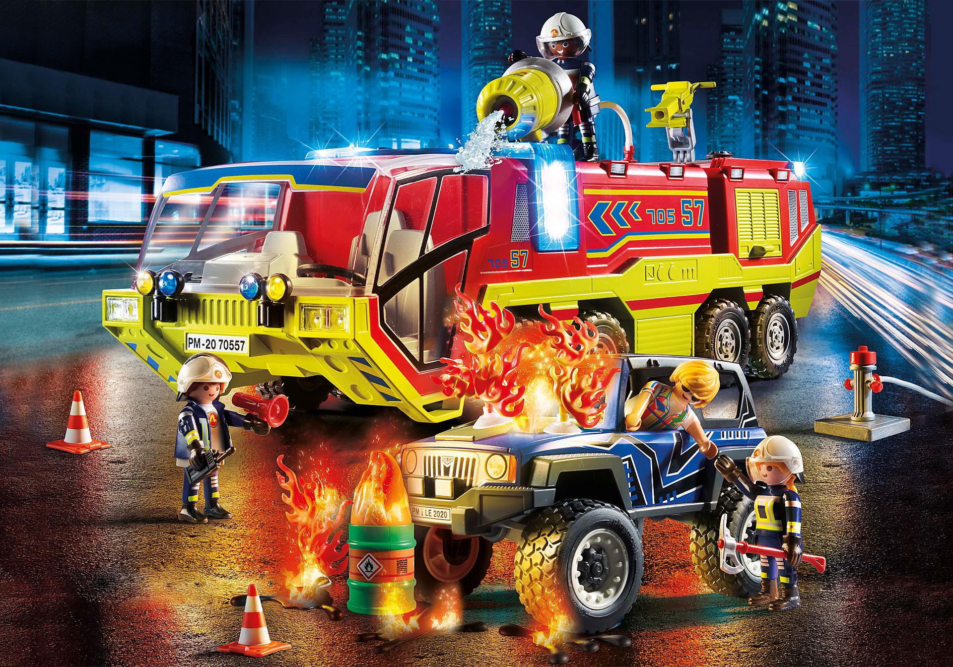 70557 Camion de pompiers et véhicule enflammé zoom image1