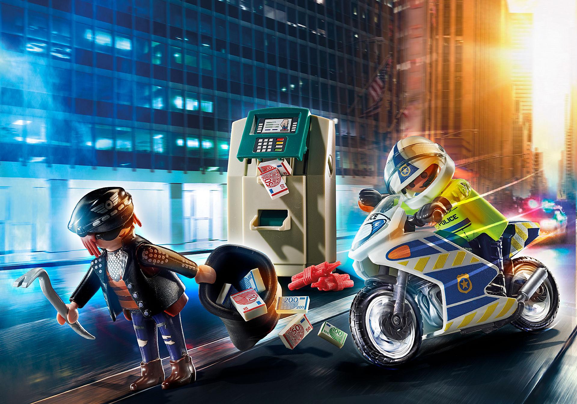 70572 Moto de Polícia: Perseguição do ladrão de dinheiro zoom image1