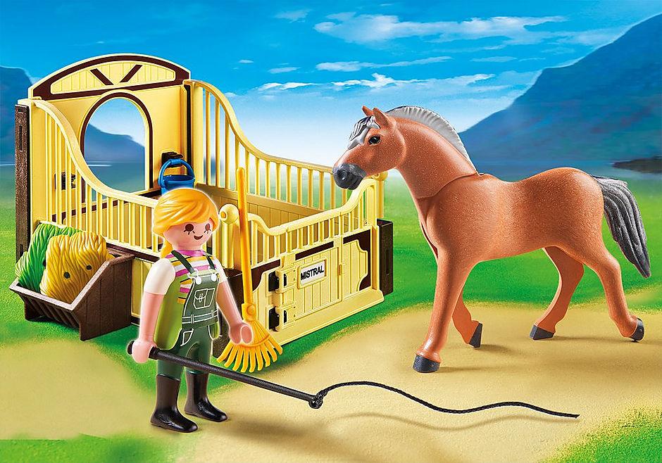 70589 Fjord Pferd mit braun-gelber Pferdebox detail image 1