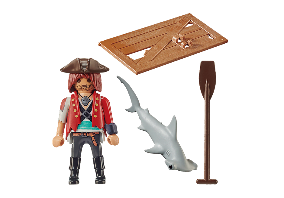 70598 Pirat med tømmerflåde og hammerhaj detail image 3