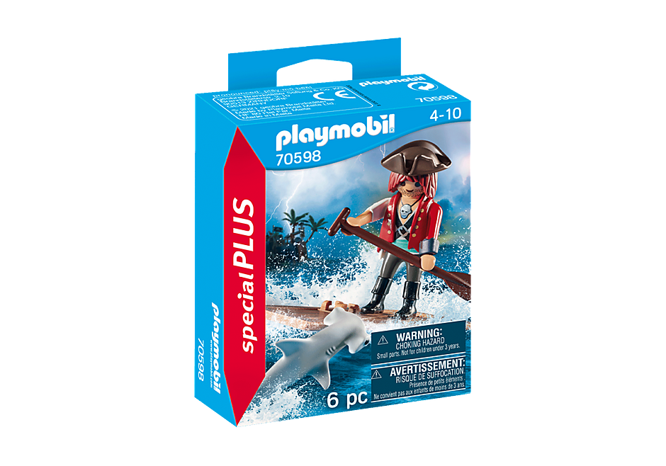 70598 Pirat med tømmerflåde og hammerhaj detail image 2