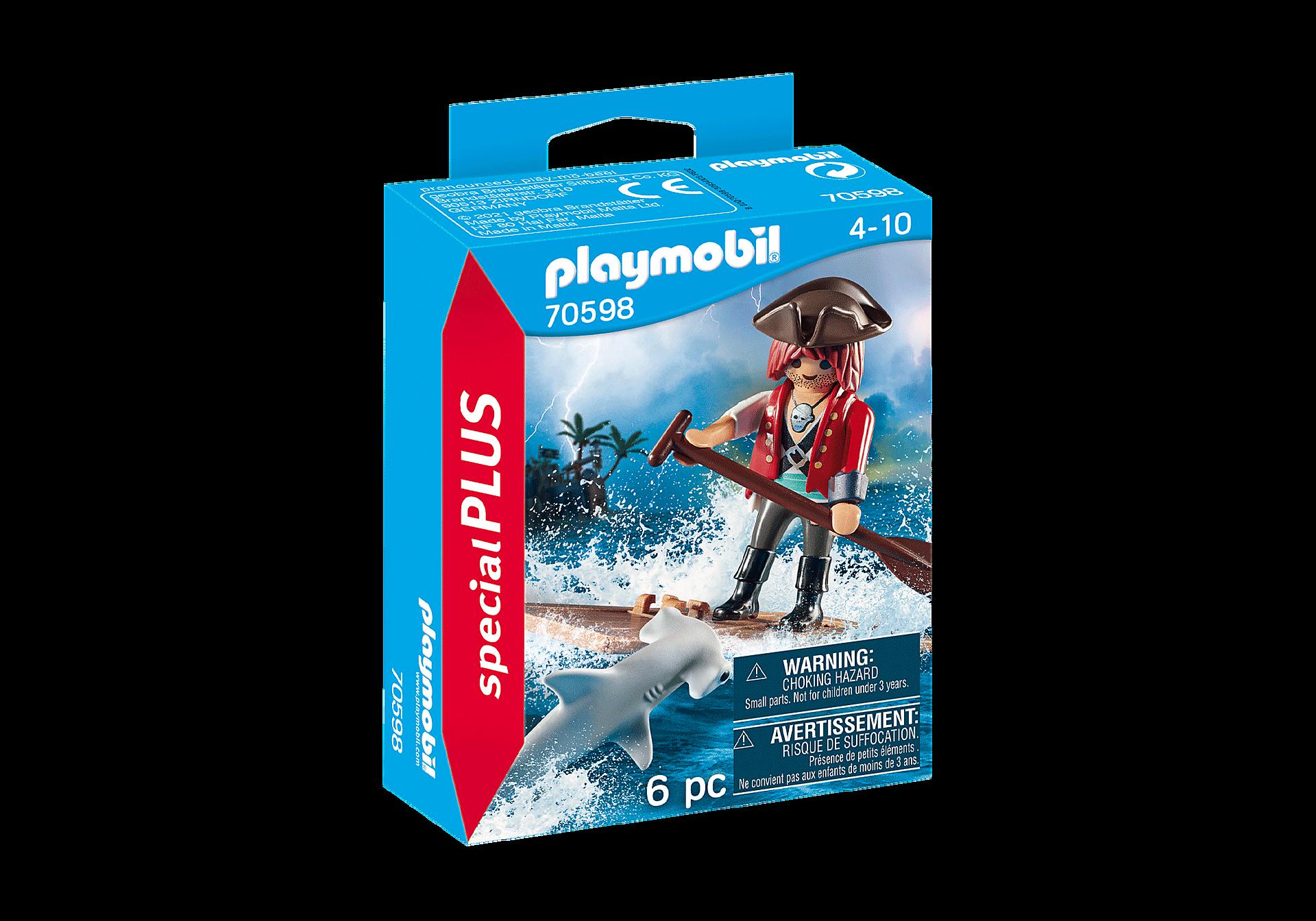 70598 Pirat med tømmerflåde og hammerhaj zoom image2