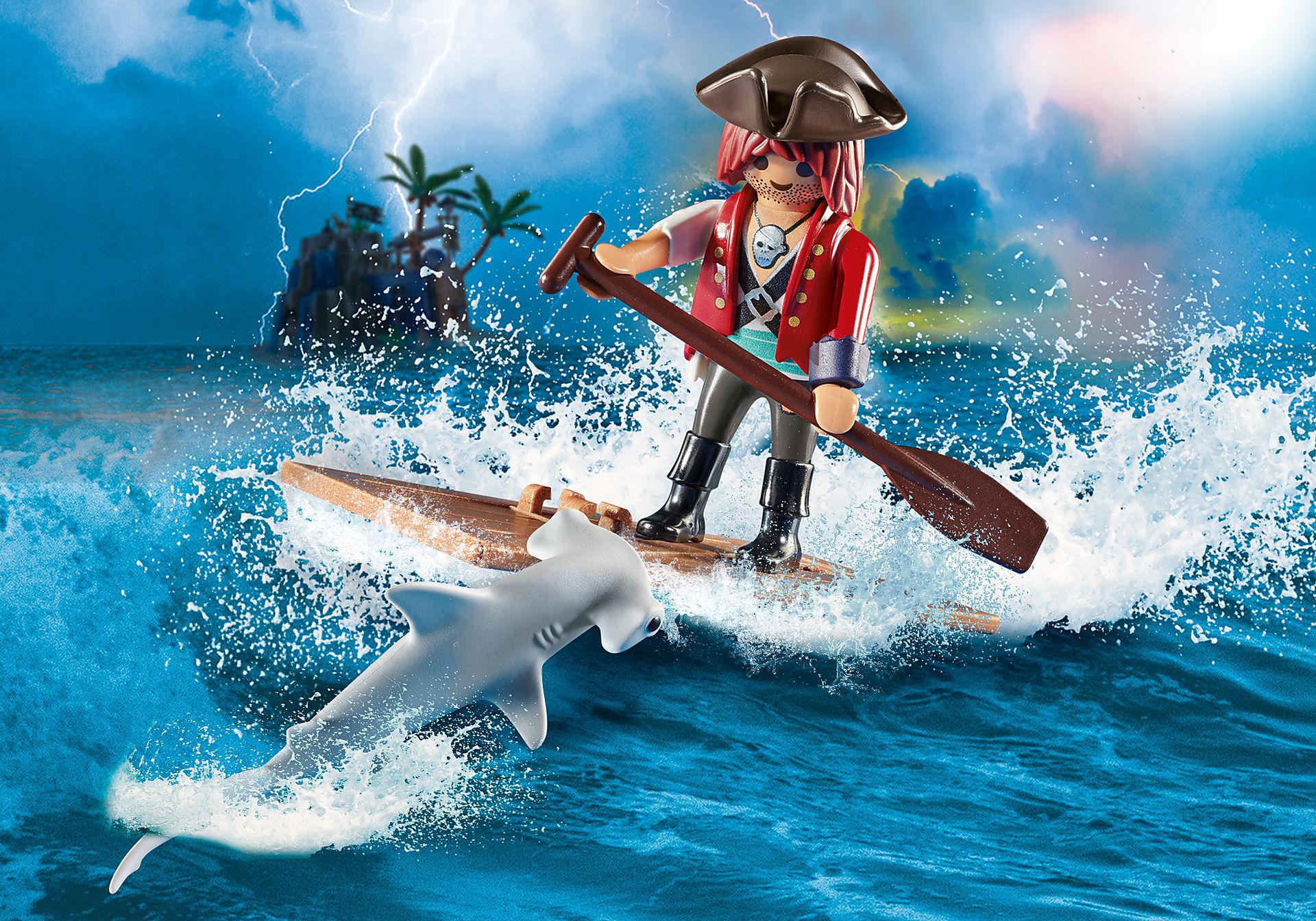 70598 Pirat med tømmerflåde og hammerhaj zoom image1