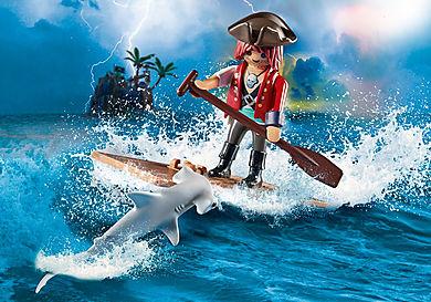 70598 Pirat med tømmerflåde og hammerhaj