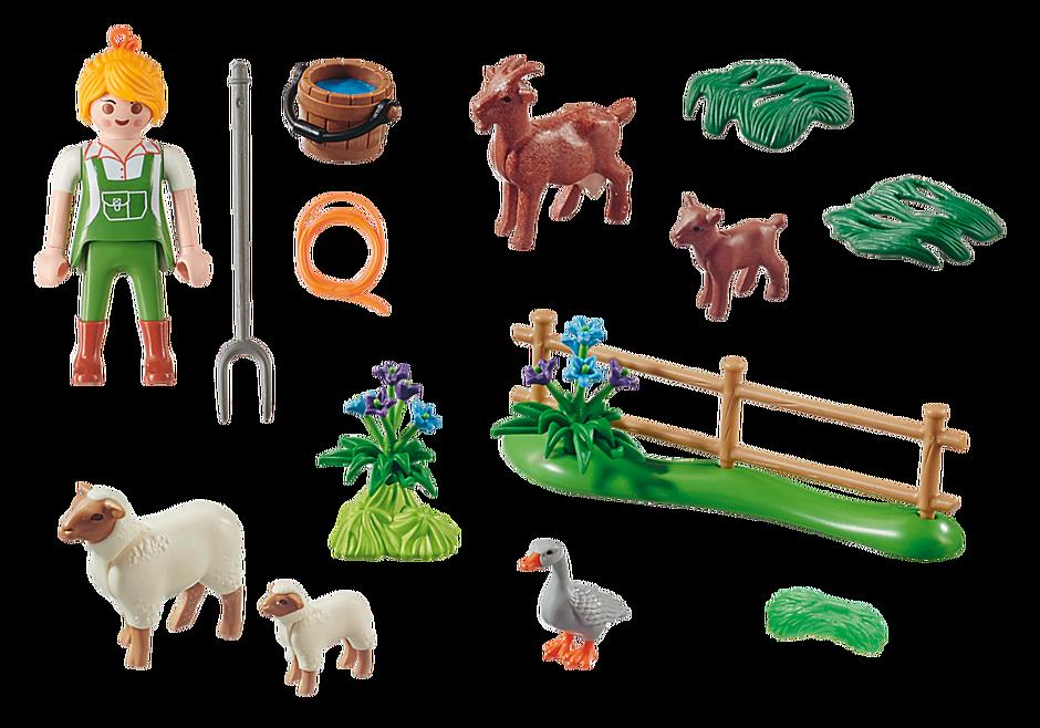"""70608 Gavesæt """"Bondekone med dyr på græs"""" detail image 3"""