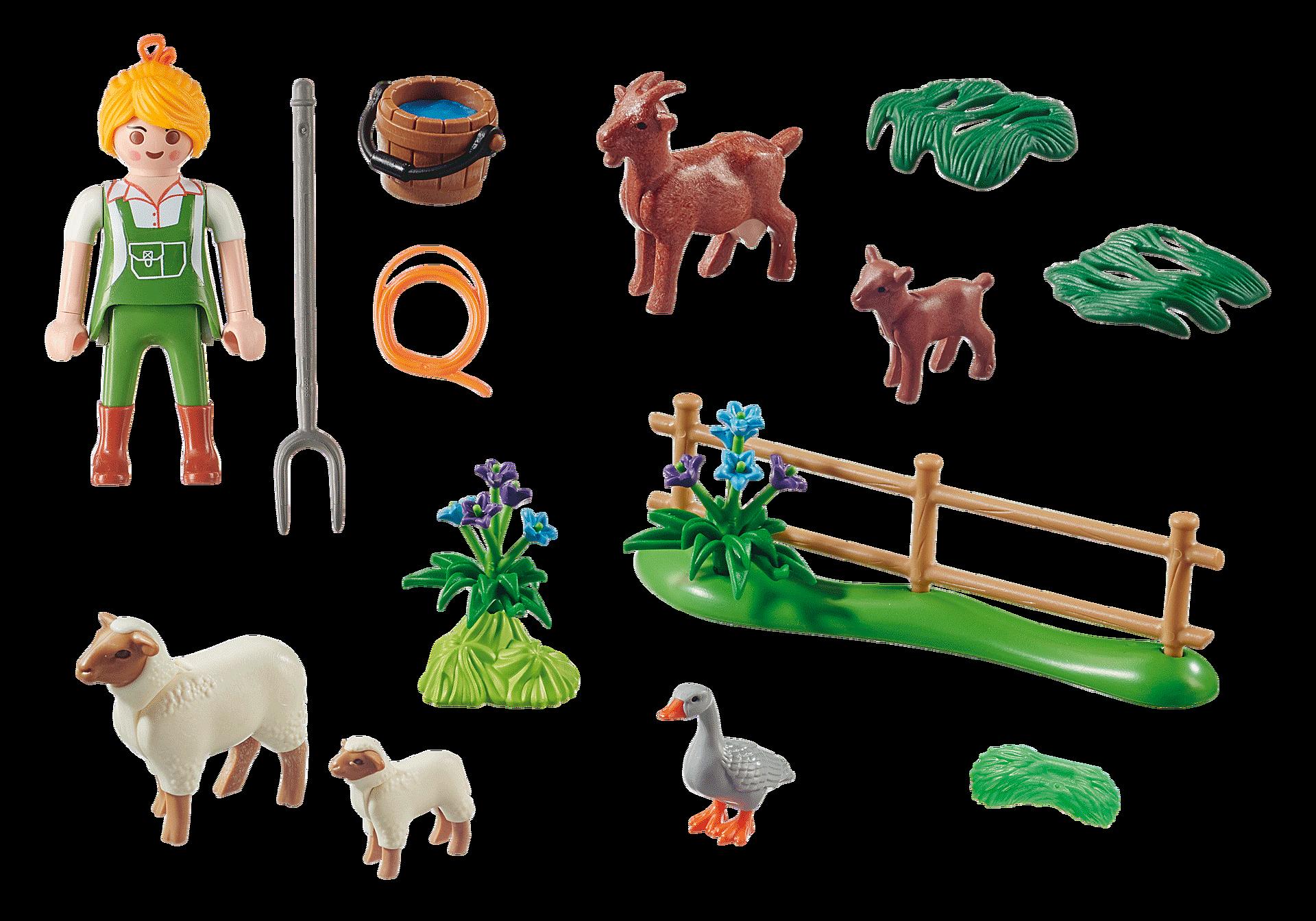 """70608 Gavesæt """"Bondekone med dyr på græs"""" zoom image3"""