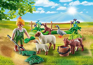 """70608 Gavesæt """"Bondekone med dyr på græs"""""""