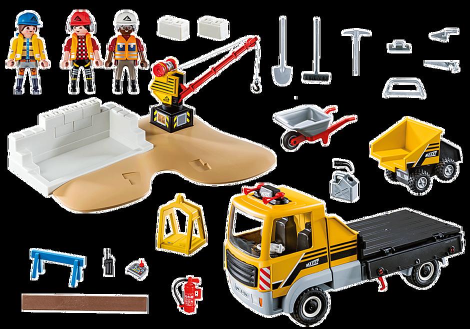 70742 Site de travaux avec camion et ouvriers detail image 3
