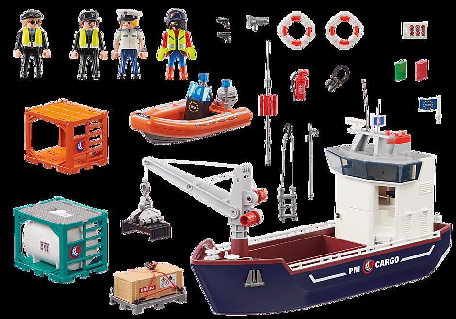 70769 Groot containerschip met douaneboot detail image 3