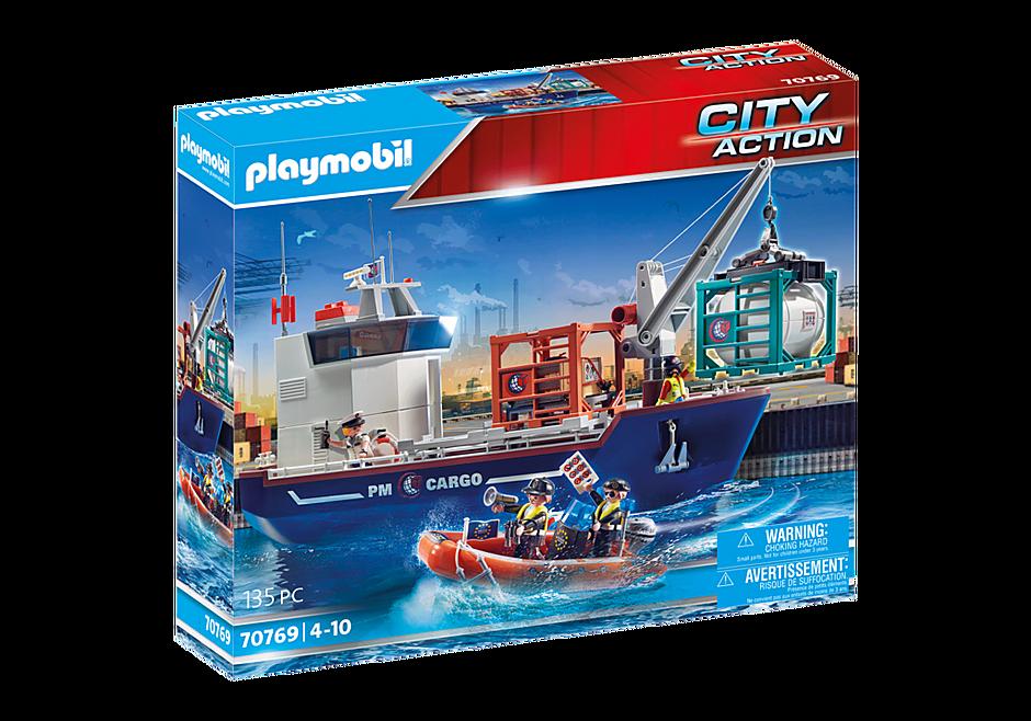 70769 Groot containerschip met douaneboot detail image 2
