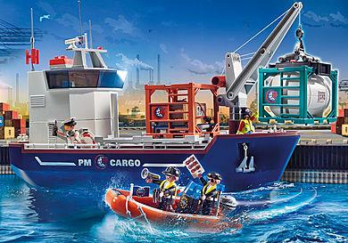 70769 Grande Navio porta-contentores com Barco Aduaneiro