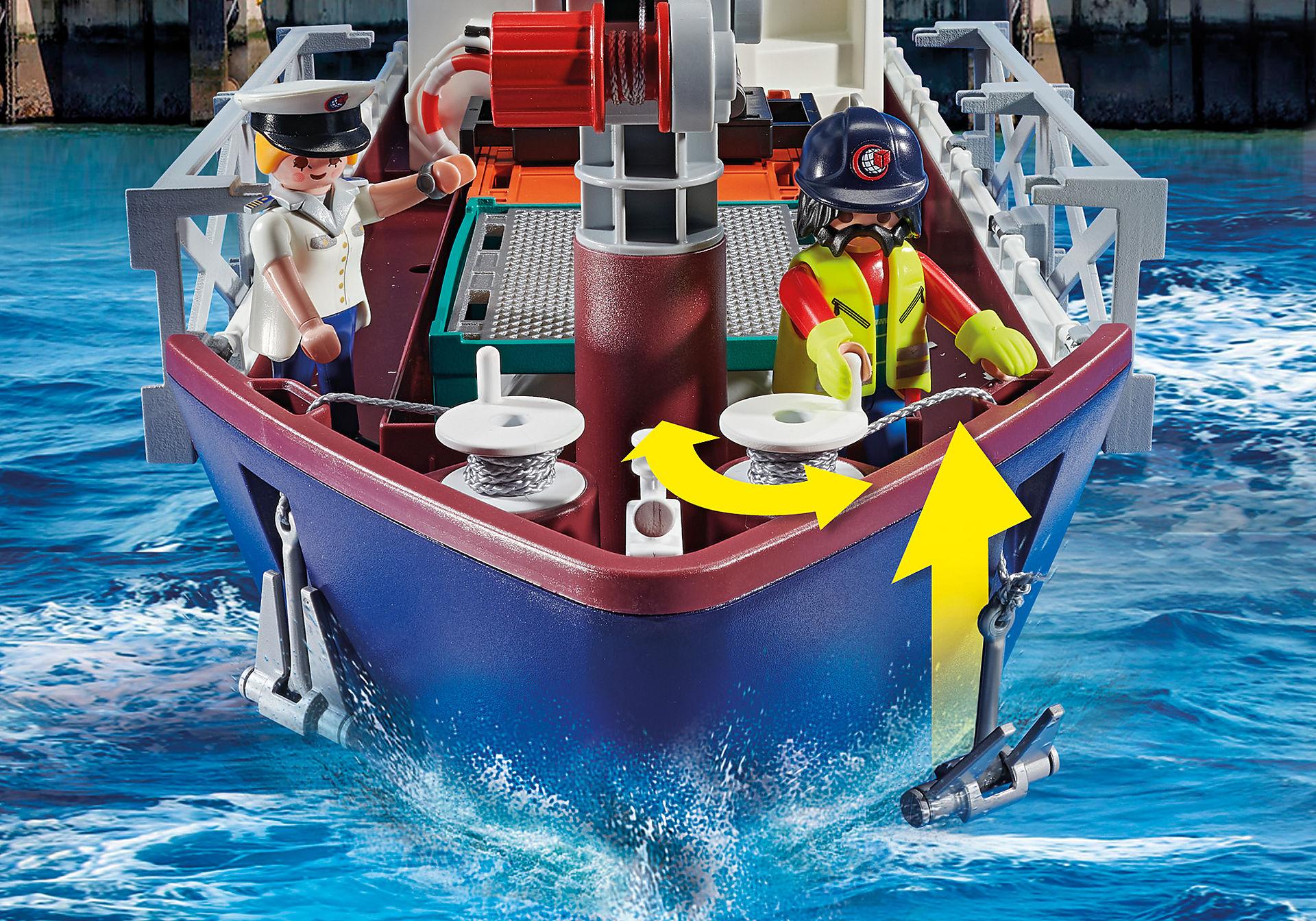 70769 Duży kontenerowiec z łodzią służb celnych zoom image8