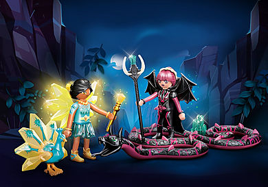 70803 Crystal Fairy og Bat Fairy med totemdyr.