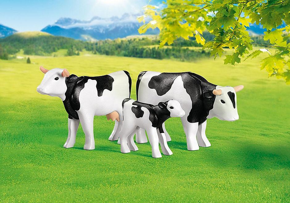 7892 2 Zwarte koeien met kalfje detail image 1