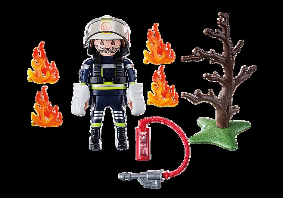 9093 Brandweerman met brandende boom detail image 4