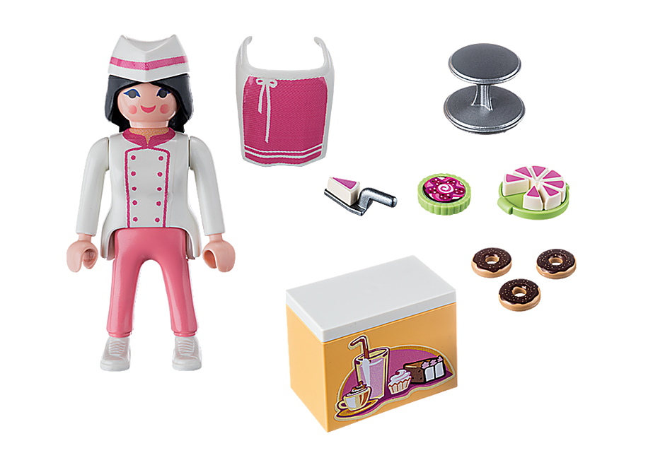 9097 Pâtissière avec gâteaux detail image 4