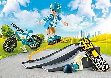 9107 Βαλιτσάκι Skateboarder με πίστα και ποδήλατο