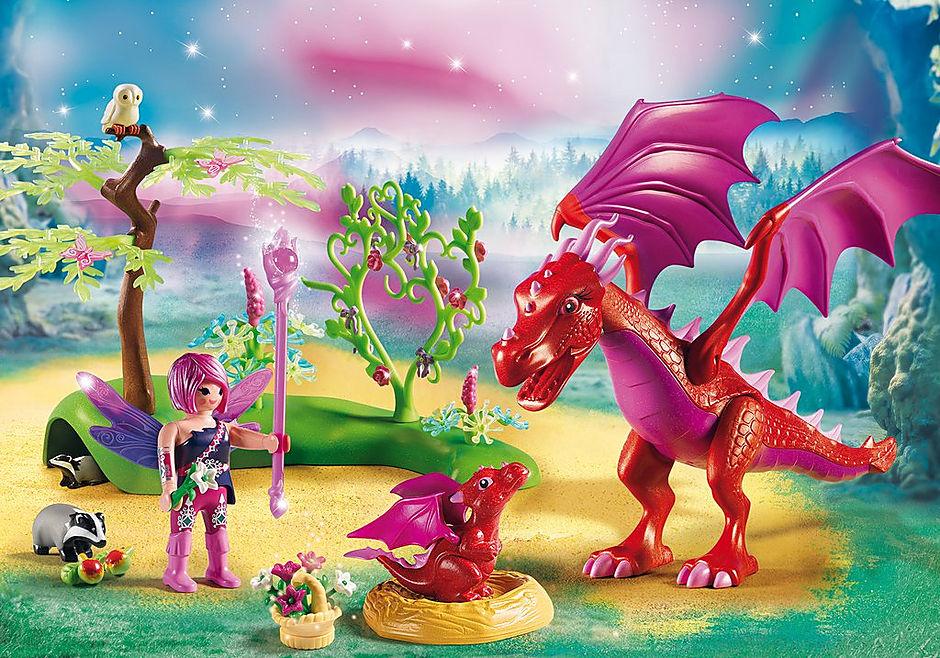 9134 Drakenhoeder met rode draken detail image 1