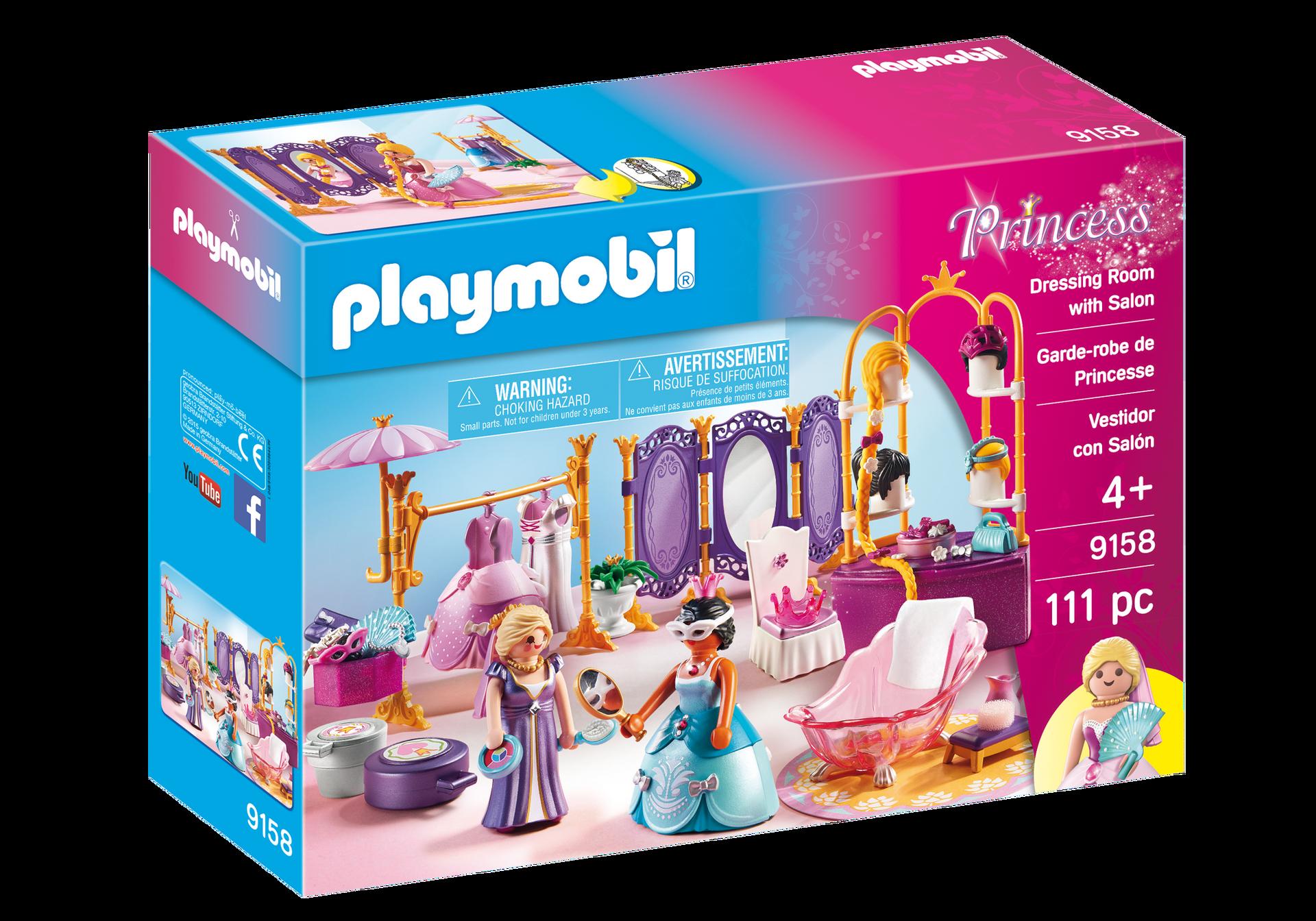 Dressing room with salon 9158 playmobil usa for Salon playmobil