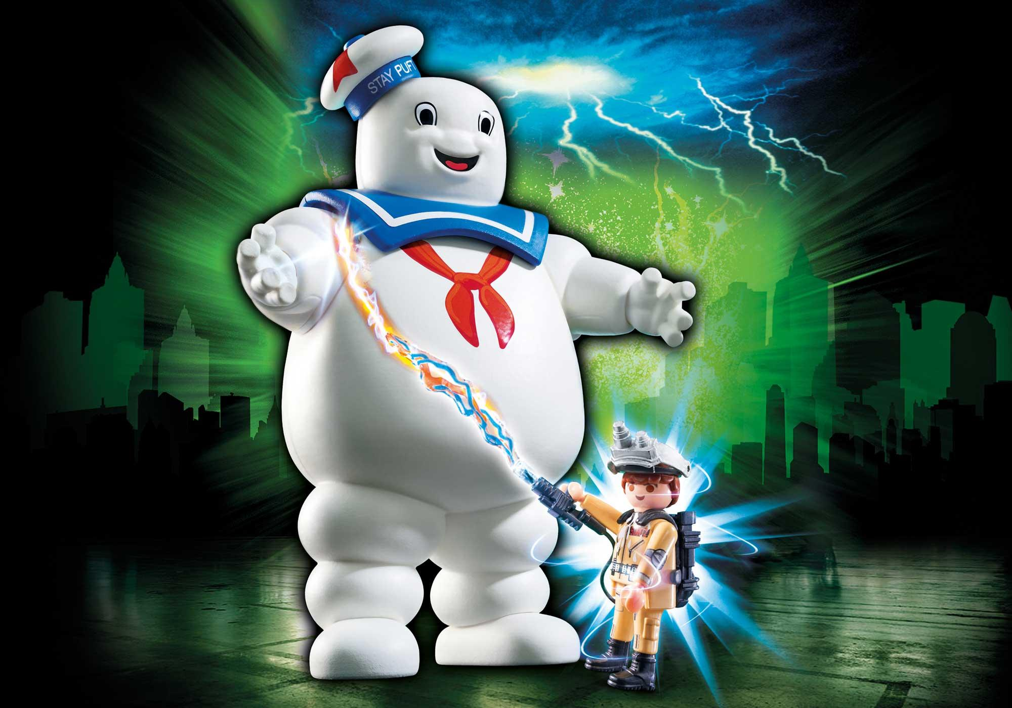 Stay Puft Marshmallow Man Item Number: 9221 4 exclusive Ghostbusters(TM)-Episodes for all ghost hunters on purchase of a ghostbusters(TM) item $19.99  free shipping with Ghostbuster Ray Stantz. Marshmallow Man dimensions: 16 x 8.5 x 19 cm (LxDxH).  Add to Cart   He may look fluffy and cute, but Stay Puft is ready to scare the city! With movable arms, there is no stopping him as he stomps along the streets. Stand back as Ghostbuster Ray Stantz uses his proton pack on the larger-than-life ghost and covers the city in marshmallow! Set also includes Ecto-Goggles and other accessories. Recommended for ages six years and up. Stay Puft Dimensions: 6.3 x 3.3 x 7.5 in (LxWxH).Warning. Choking Hazard. Small parts. Not for children under 3 years. Ghostbusters™ & © 2017 Columbia Pictures Industries, Inc. All rights reserved Dimensions (LxWxH) in: 6.3 x 3.3 x 7.5 Recommended for ages 6 and up. Warning