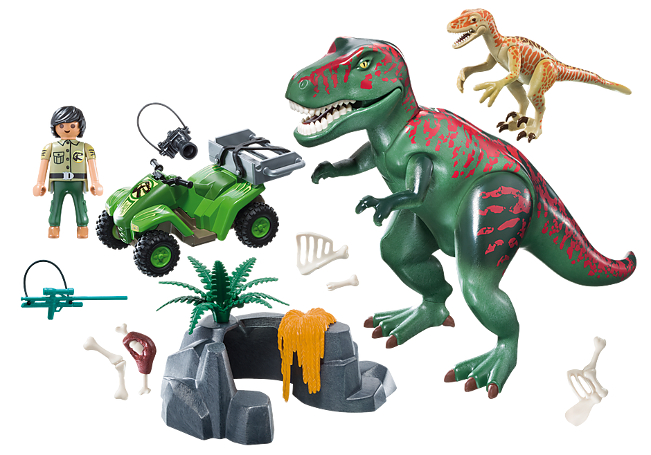 http://media.playmobil.com/i/playmobil/9231_product_box_back/Tirannosauro Rex con esploratore in quad