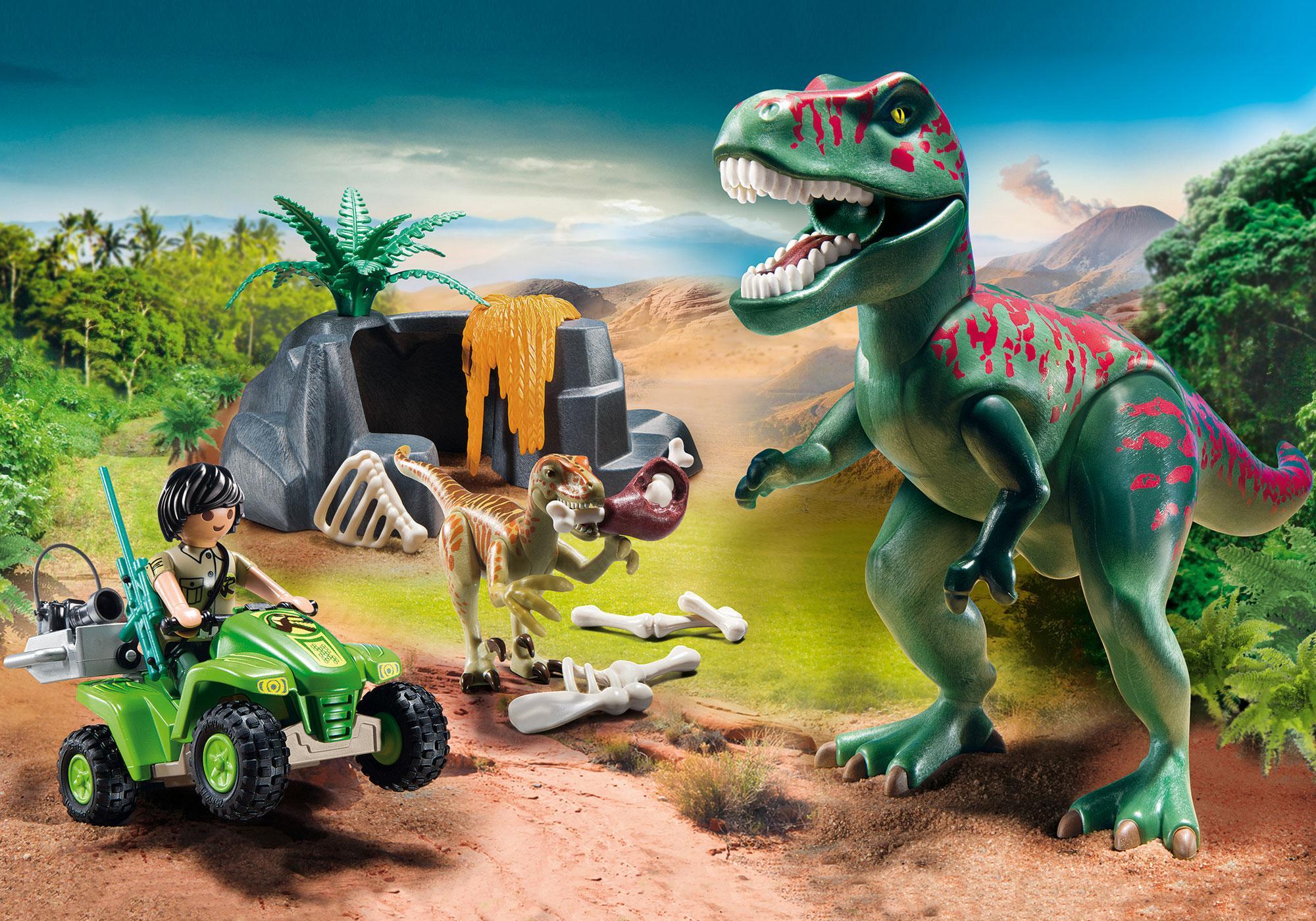 9231_product_detail/Tirannosauro Rex con esploratore in quad