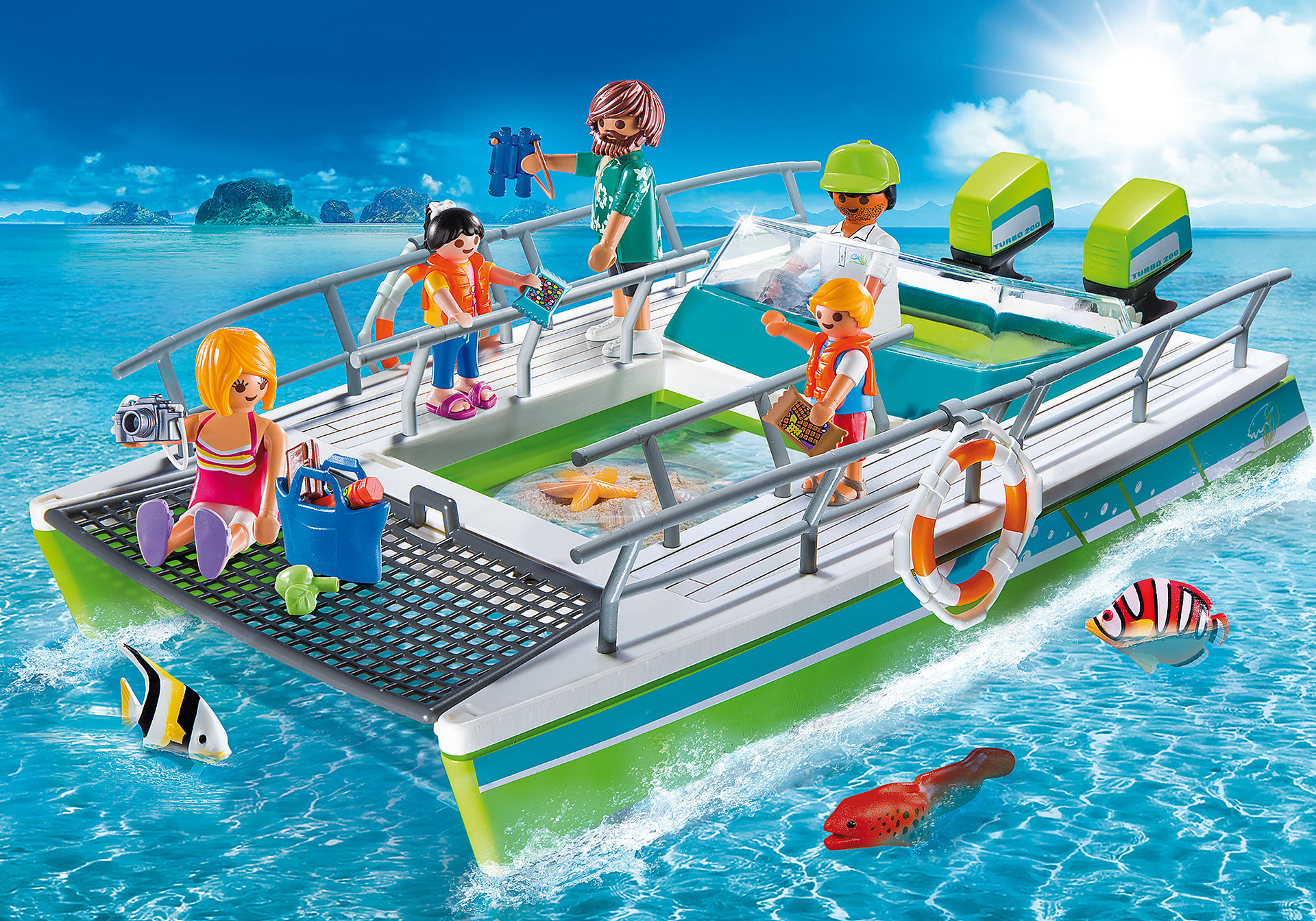 9233 Barca a fondo trasparente con motore subacqueo zoom image1