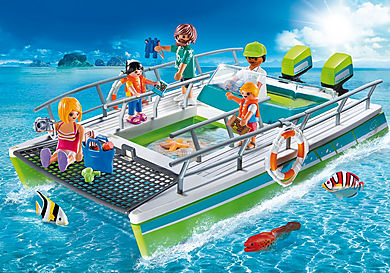 9233 Barca a fondo trasparente con motore subacqueo