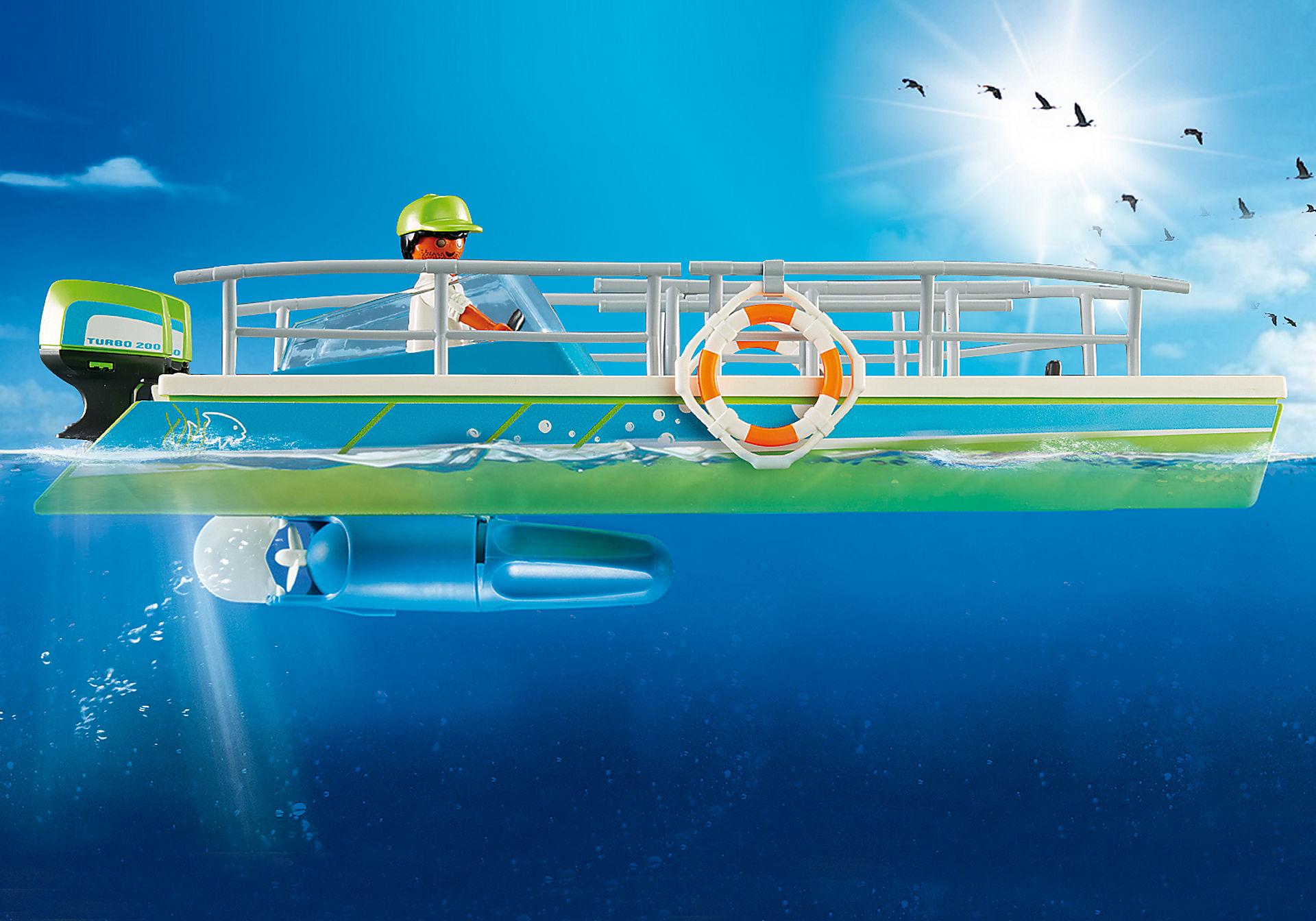 9233 Barca a fondo trasparente con motore subacqueo zoom image7
