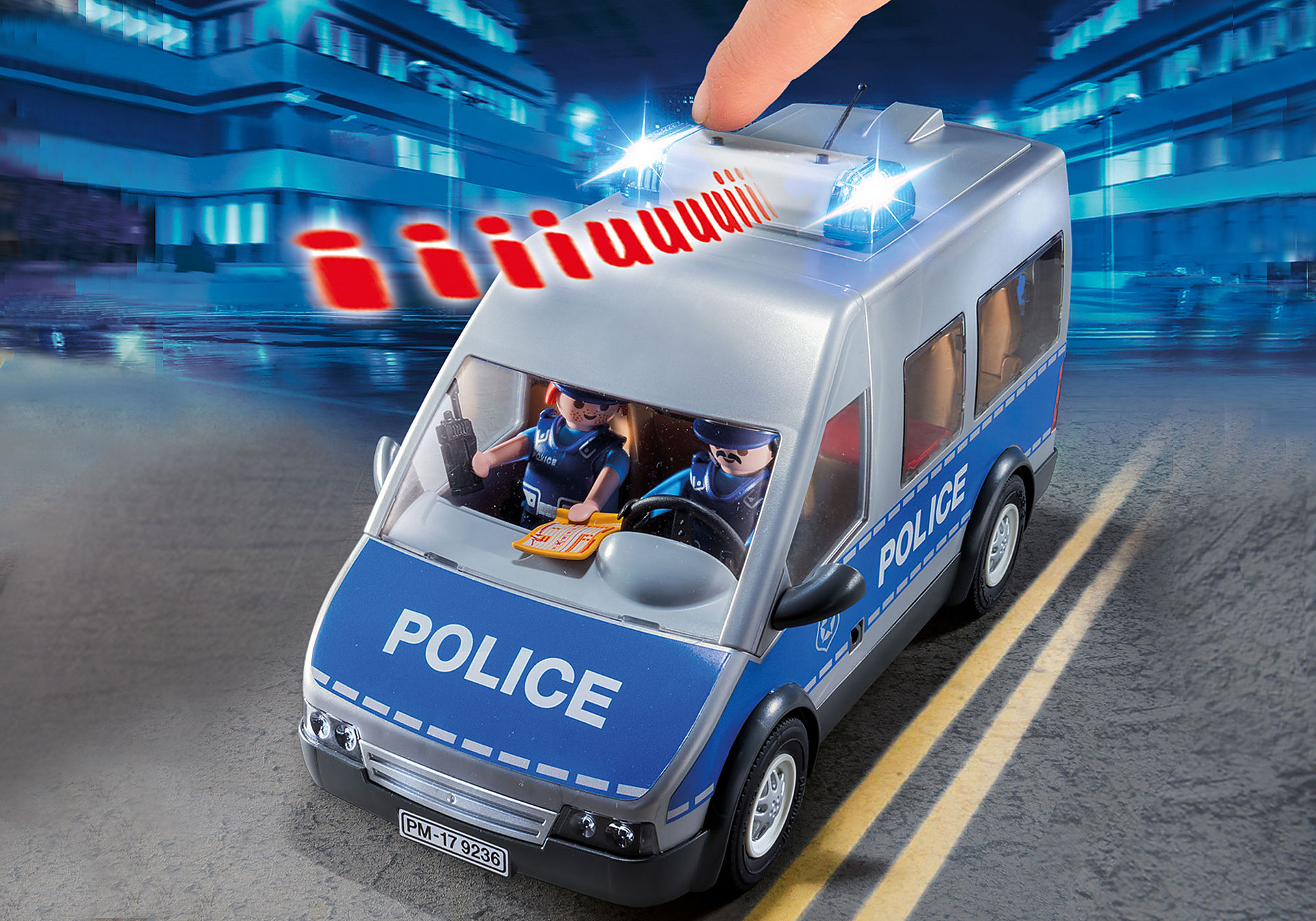 http://media.playmobil.com/i/playmobil/9236_product_extra2/Fourgon de policiers avec matériel de barrage