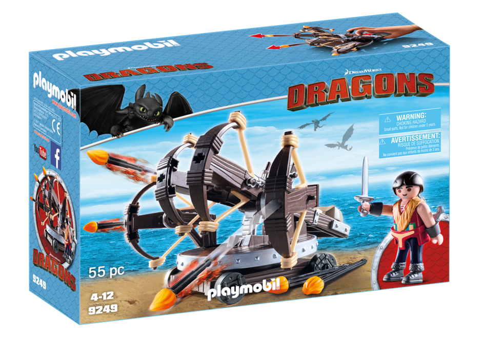PLAYMOBIL Eret with 4 Shot Fire Ballista Dragons 9249 How to Train your Dragon