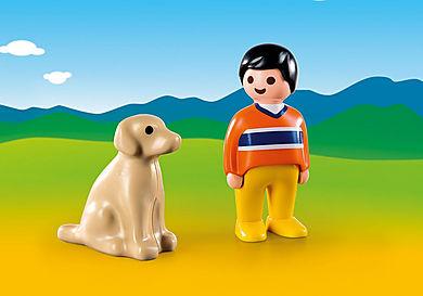 9256 Garçon avec chien