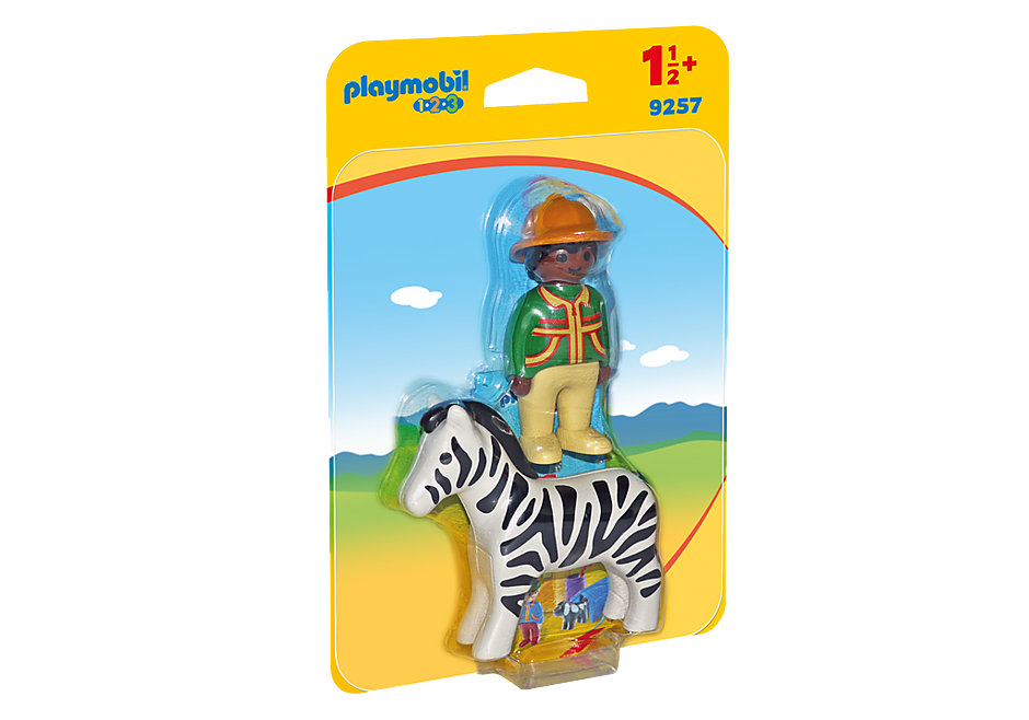 http://media.playmobil.com/i/playmobil/9257_product_box_front/1.2.3 Verzorger met zebra