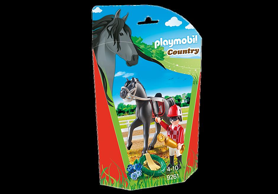 9261 Jockey avec cheval de course detail image 3