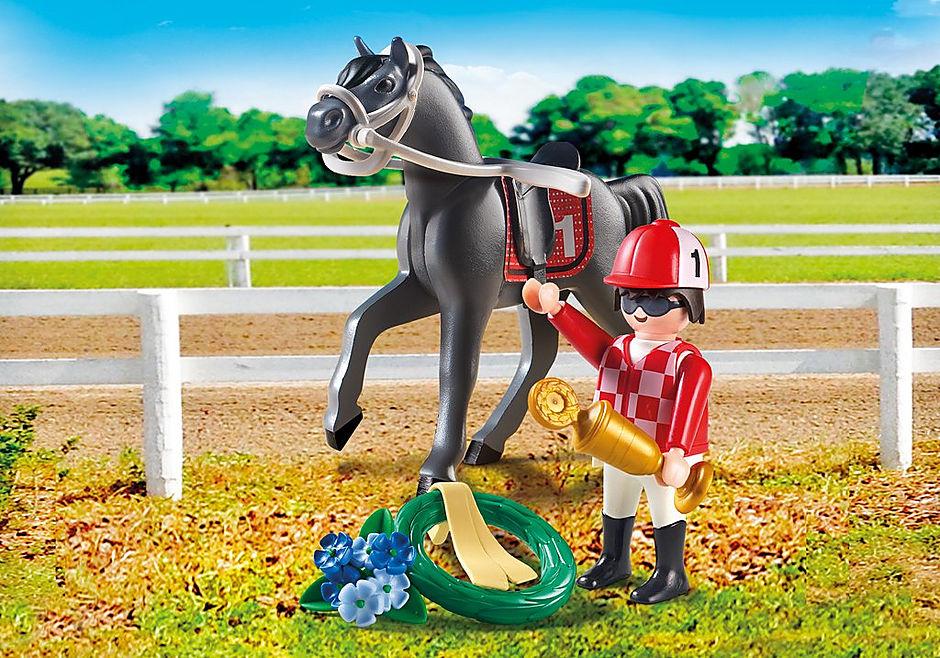 9261 Jockey avec cheval de course detail image 1