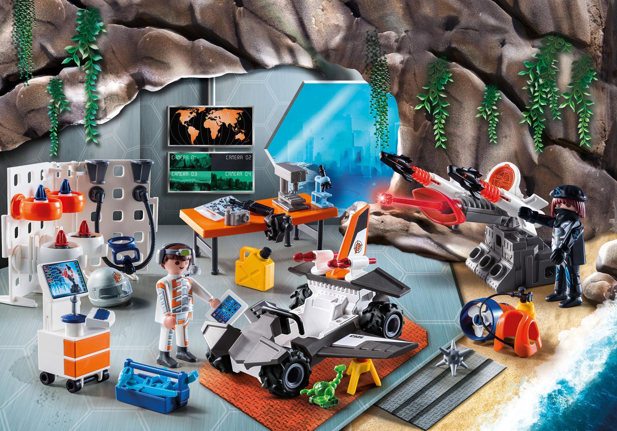 """http://media.playmobil.com/i/playmobil/9263_product_extra1/Adventskalender """"Spy Team Werkstatt"""""""