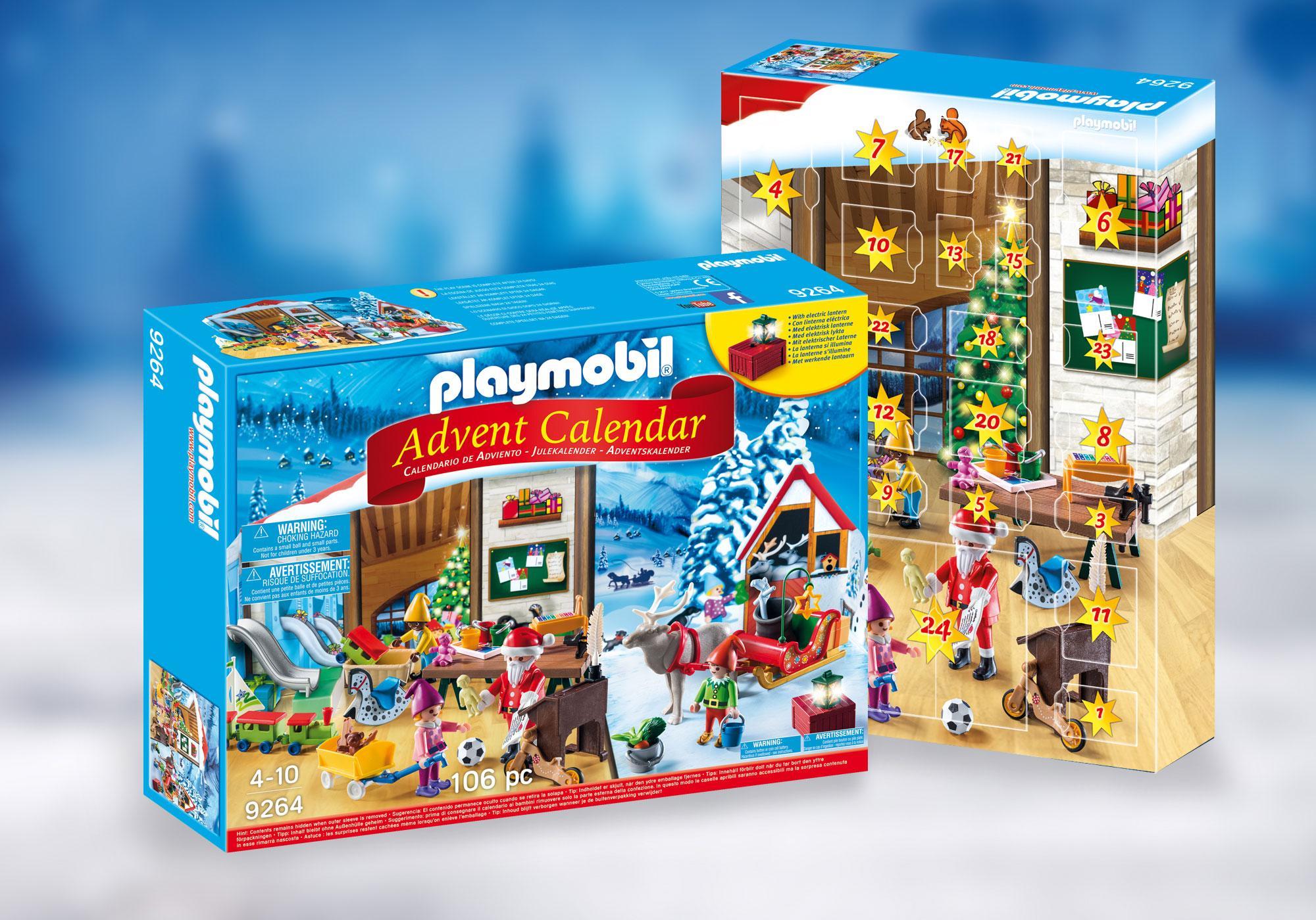 """http://media.playmobil.com/i/playmobil/9264_product_detail/Kalendarz adwentowy """"Pracownia Świętego Mikołaja"""""""