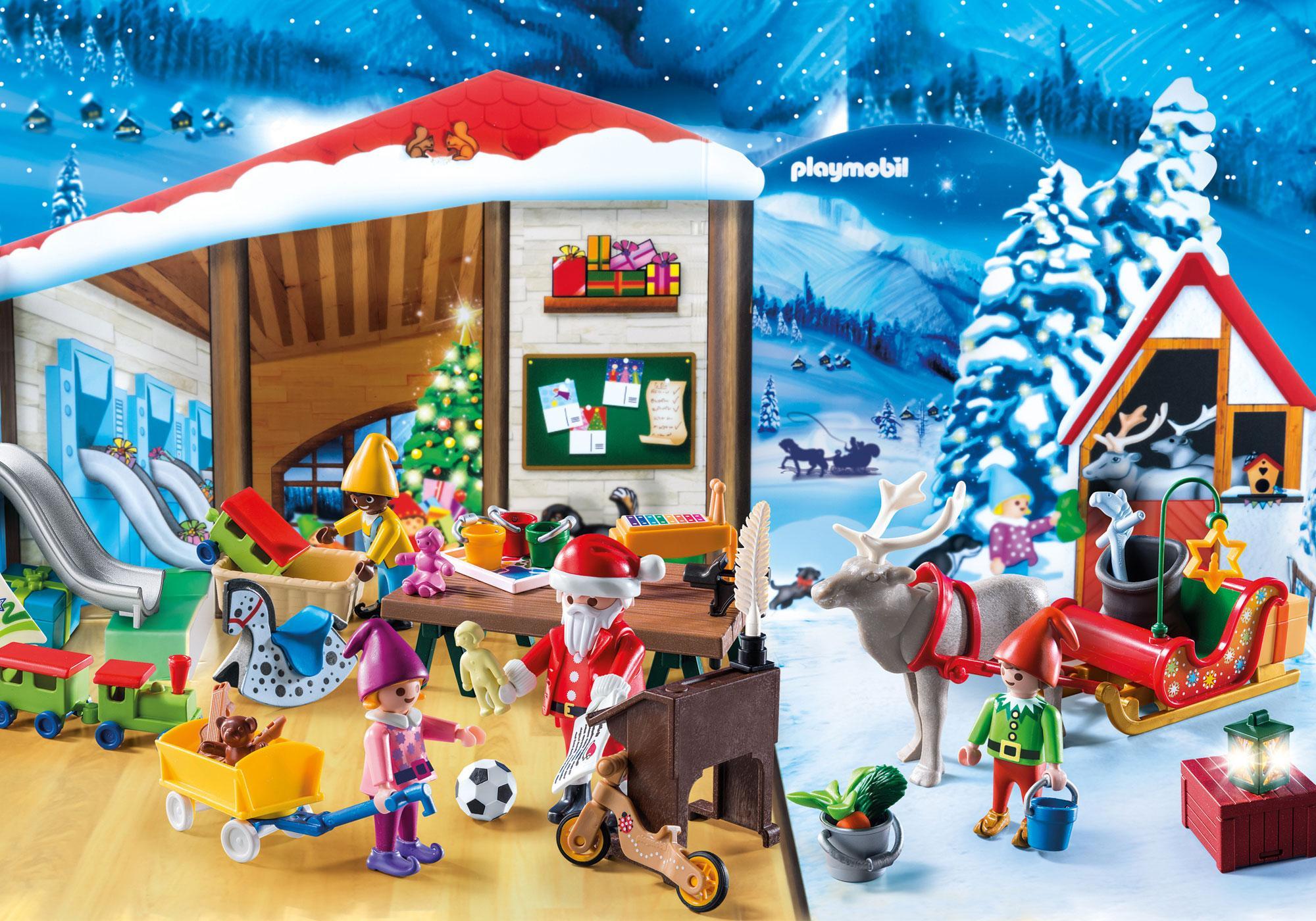 """http://media.playmobil.com/i/playmobil/9264_product_extra1/Kalendarz adwentowy """"Pracownia Świętego Mikołaja"""""""