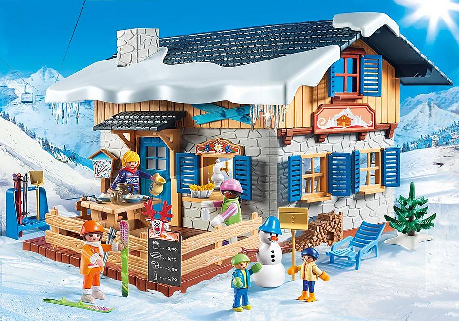 9280 Chalet avec skieurs  detail image 1