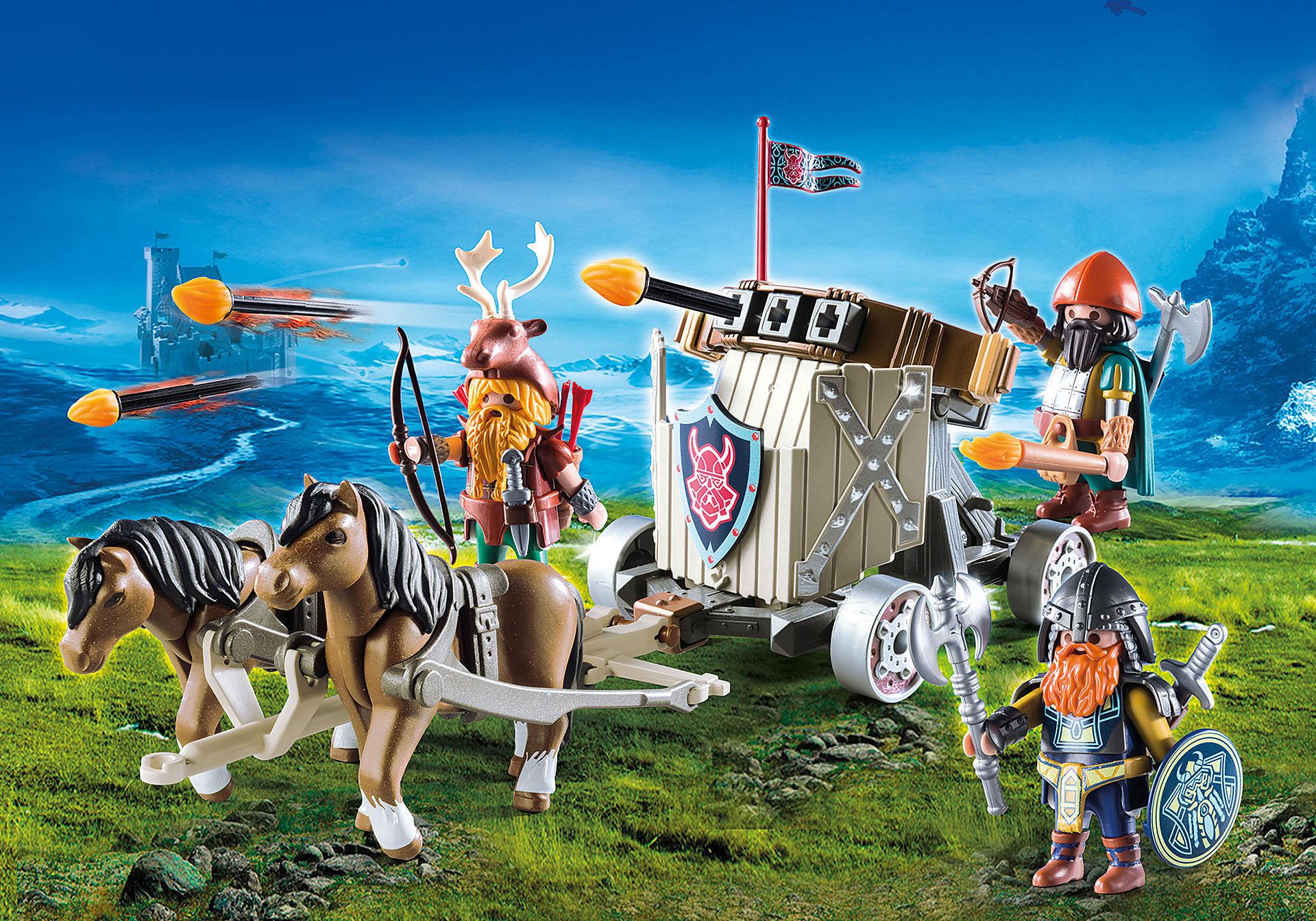 9341 Carruagem dos Anões com Cavalos e Balista zoom image1