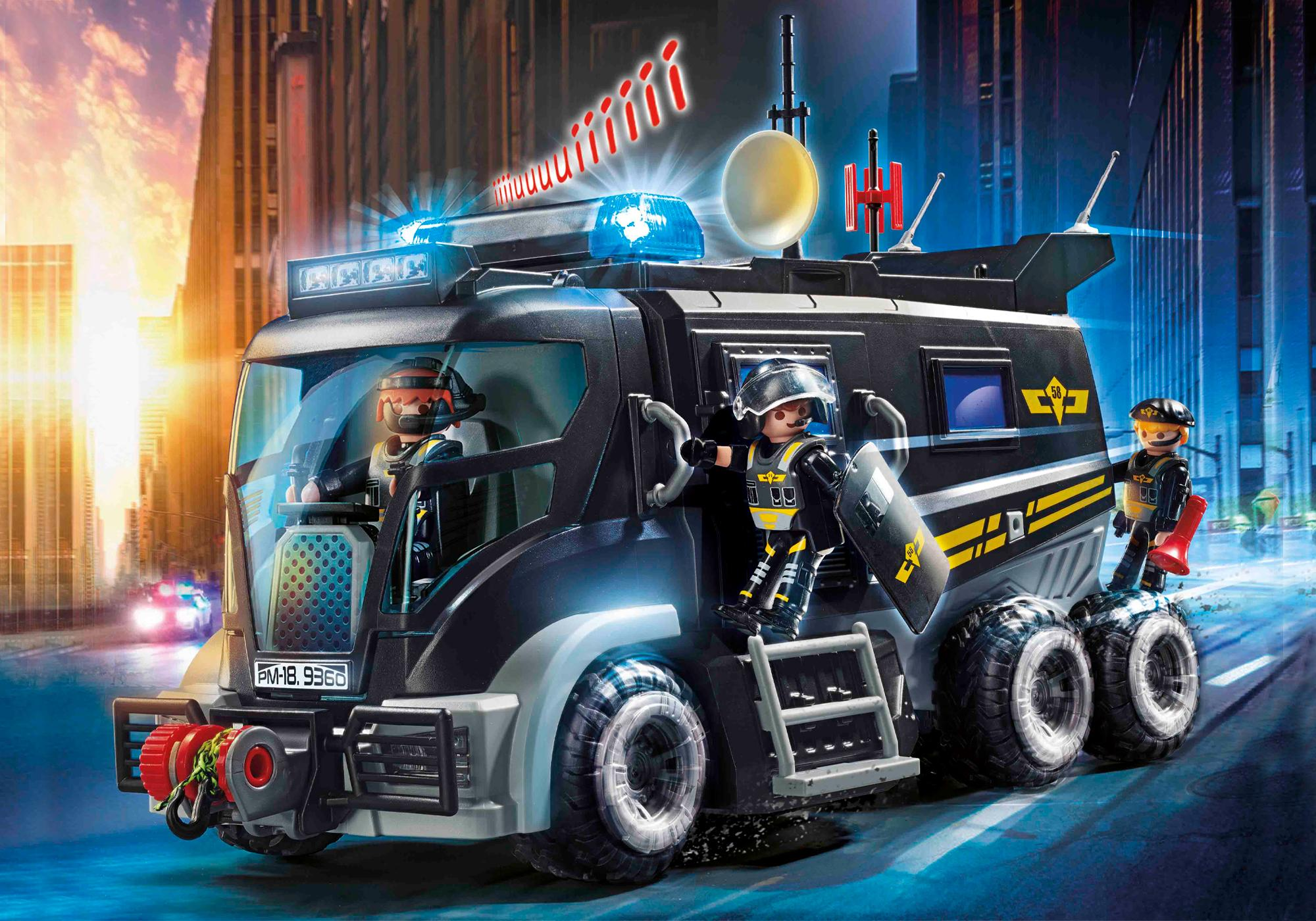 9360_product_detail/Camion des policiers d'élite avec sirène et gyrophare