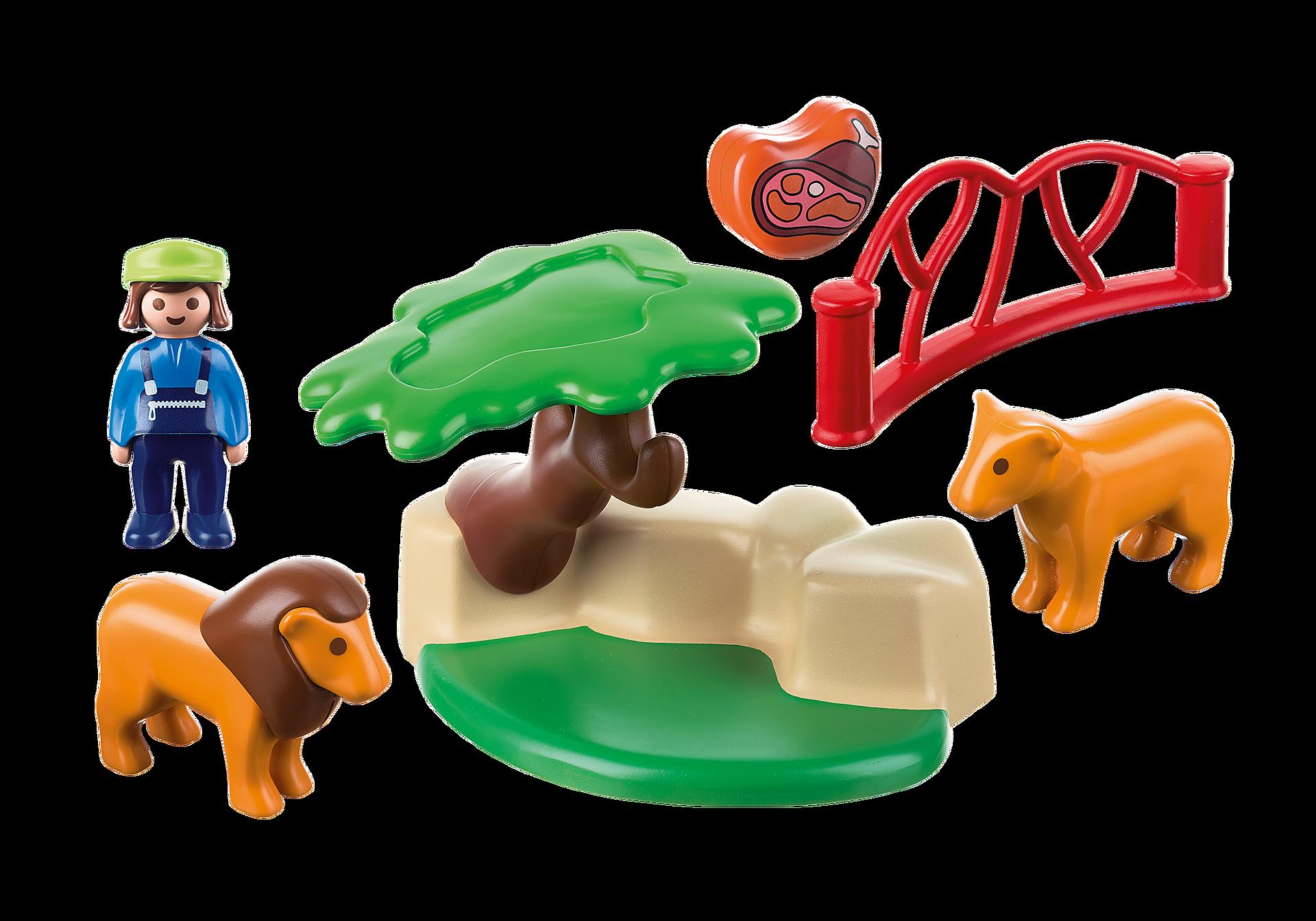 http://media.playmobil.com/i/playmobil/9378_product_box_back/Λιοντάρια Ζωολογικού Κήπου με περίφραξη