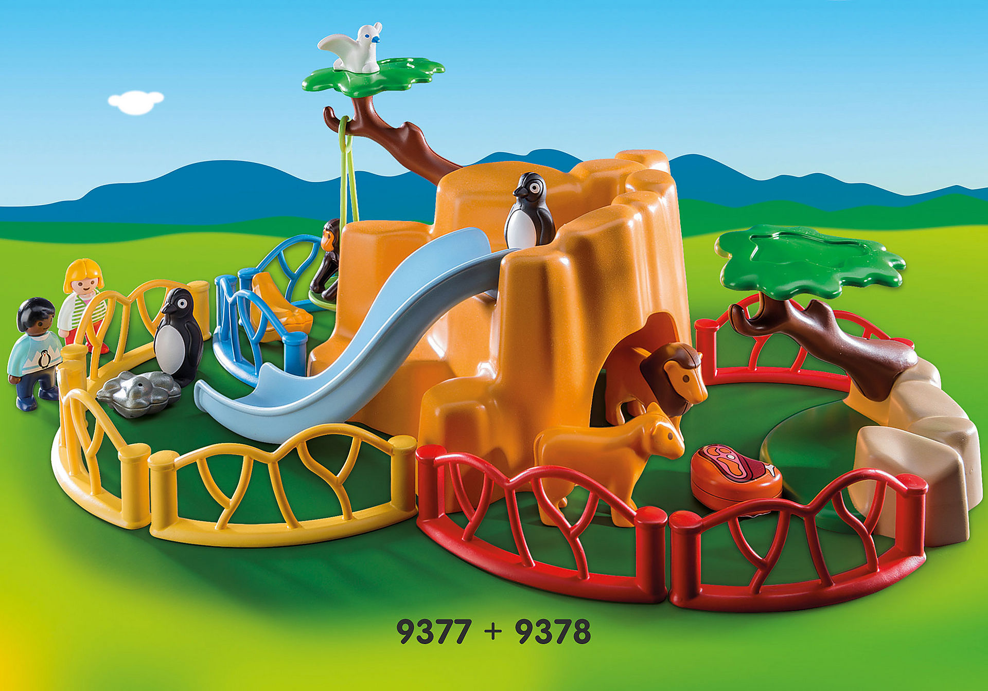 http://media.playmobil.com/i/playmobil/9378_product_extra1/Λιοντάρια Ζωολογικού Κήπου με περίφραξη