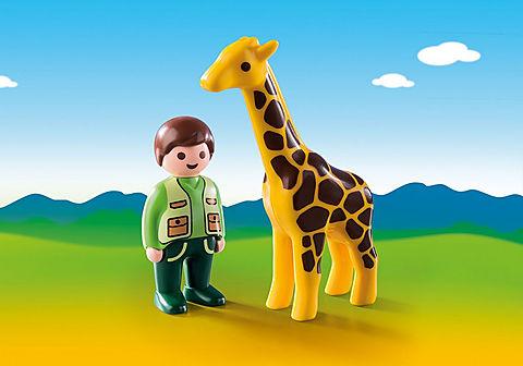 9380 Dierenverzorger met giraf