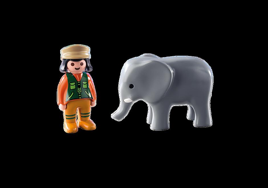 9381 Φύλακας Ζωολογικού Κήπου με ελέφαντα detail image 4