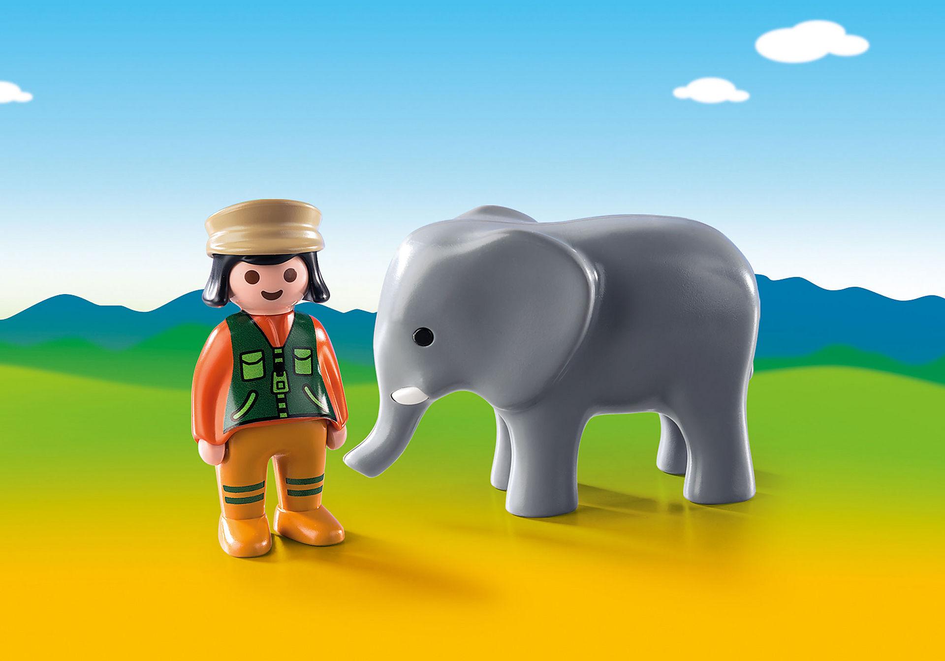 9381 Φύλακας Ζωολογικού Κήπου με ελέφαντα zoom image1