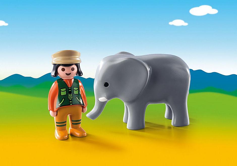 9381 Soigneuse avec éléphanteau detail image 1