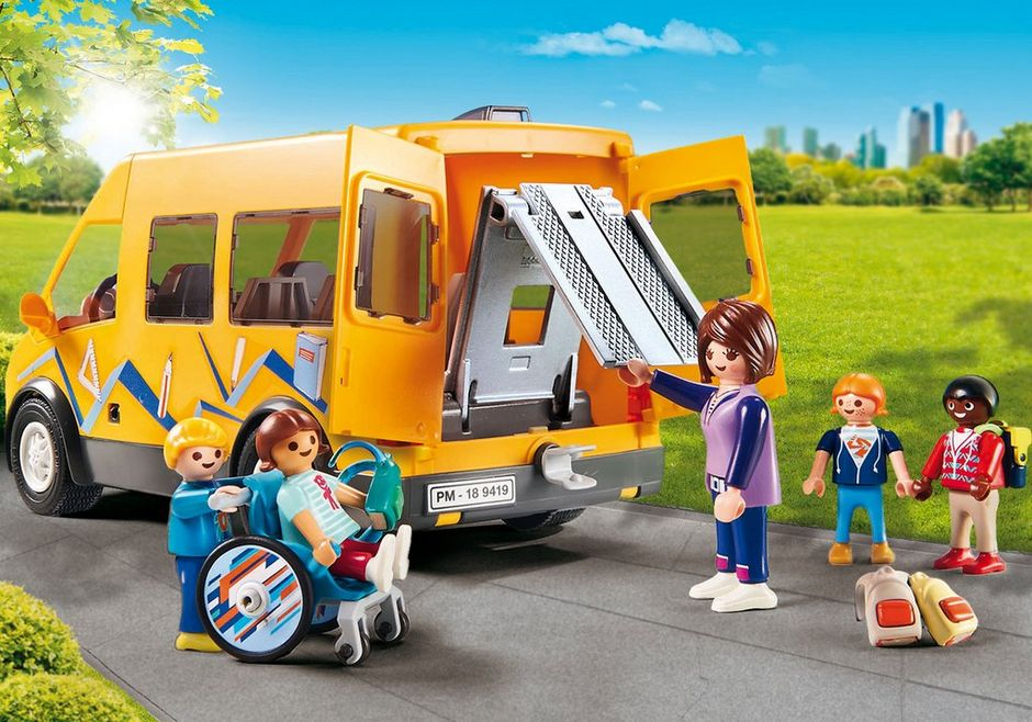 Playmobil 9419 City Life School Van with Folding Ramp