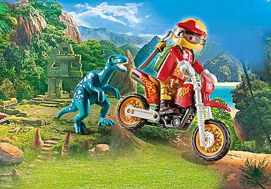 9431 Εξερευνητής με Motocross και μικρό δεινόσαυρο